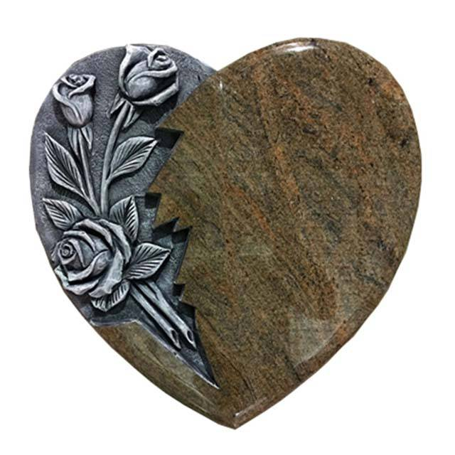 3D Carved Rose Heart Granite