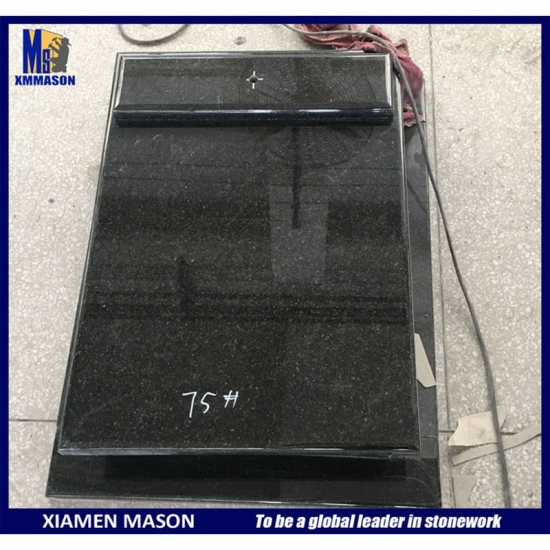 Polished Black Granite Tombstone