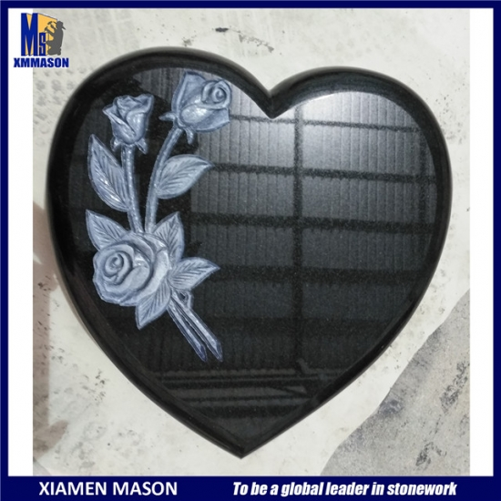 Granite Carving Heart with Carved Rose