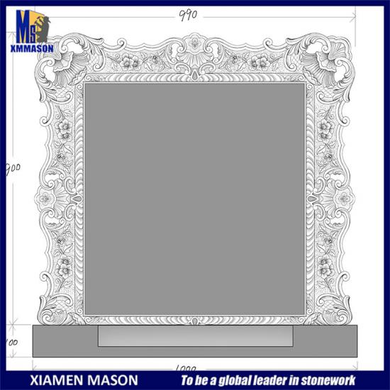 Customized Frame Carved Headstone