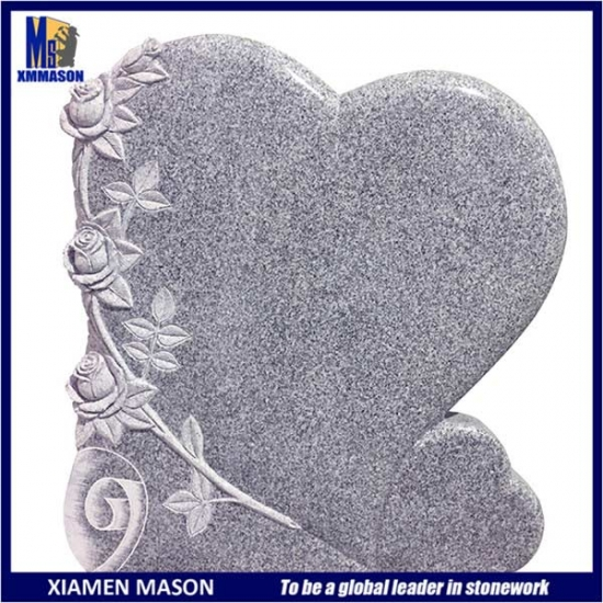 Gray Granite Heart Shape Memorial with Flower