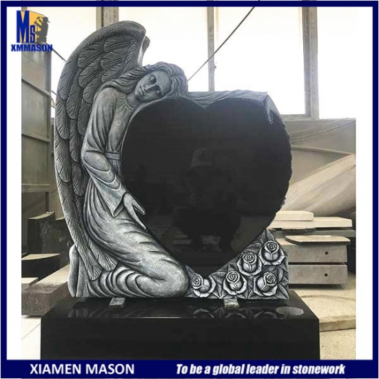 Factory Sale Black Granite Monument with Angel