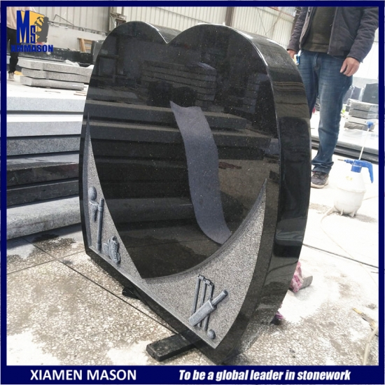 Heart Shape Black Galaxy Granite Gravestone